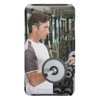Man lifting weights in gym 2 barely there iPod cover