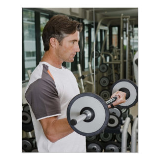 Man lifting weights in gym 2 poster