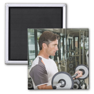 Man lifting weights in gym 2 square magnet