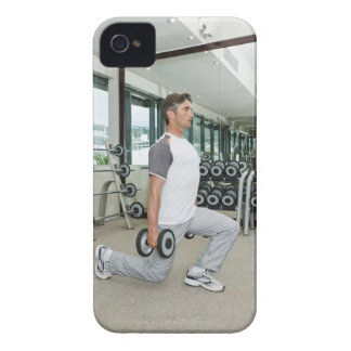 Man lifting weights in gym iPhone 4 covers