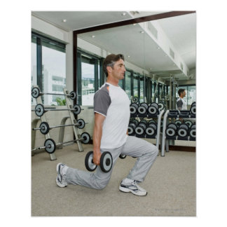 Man lifting weights in gym poster