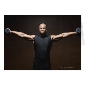 Man lifting weights, portrait greeting card