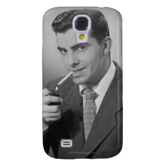 Man Lighting Cigarette Galaxy S4 Case