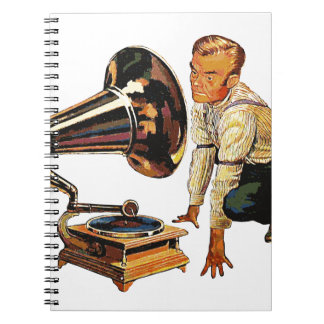 Man listening to a gramophone notebook