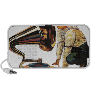 Man listening to a gramophone speakers