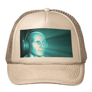 Man Listening to Music Meditating in Earphones 3d Cap