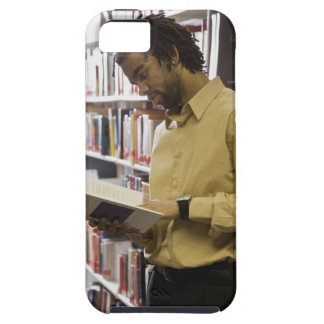 Man looking at book in library tough iPhone 5 case