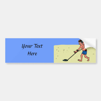 Man Metal Detecting Beach Bumper Sticker