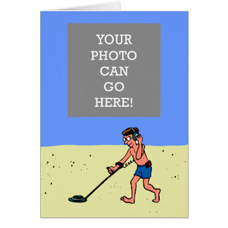 Man Metal Detecting Beach Card