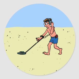Man Metal Detecting On Beach Round Stickers