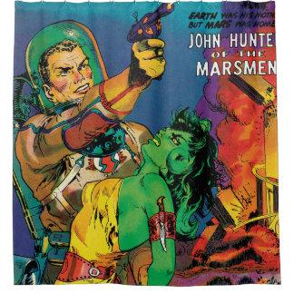 Man O' Mars Vintage 50s Sci Fi Comic Book Shower Curtain