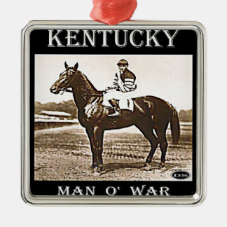 Man O' War Square Metal Christmas Ornament