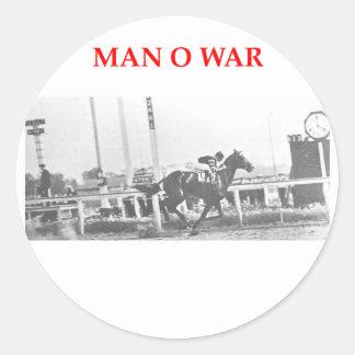 man o war round stickers