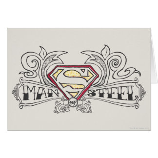 Man of Steel Drawn with Texture Greeting Cards