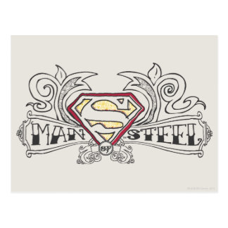 Man of Steel Drawn with Texture Postcard