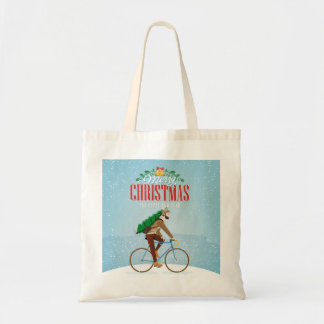 Man on a Bicycle in Winter Christmas Budget Tote Bag
