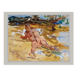 Man on Beach Florida by Sargent Postcard