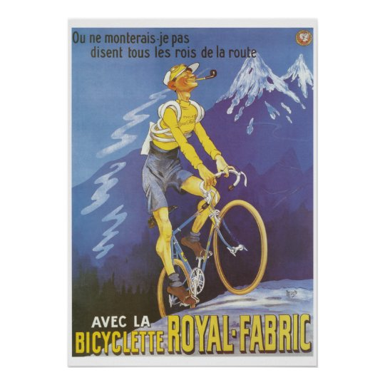 Man on bicycle mountains sports vintage French ads