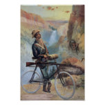 Man on Bicycle, Yellowstone National Park Vintage Posters