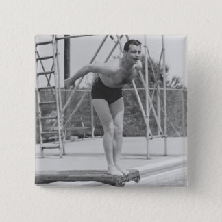Man on Diving Board 15 Cm Square Badge