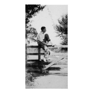 Man On Gate Old Black & White Image Photocard Custom Photo Card