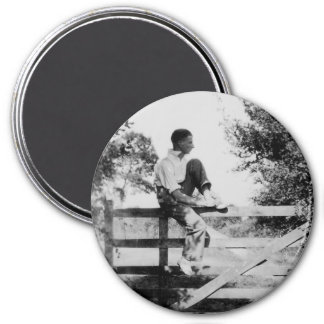 Man On Gate Old Image Large Round Magnet