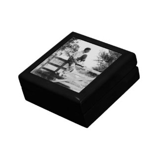 Man On Gate Old Image Small Tile Gift Box