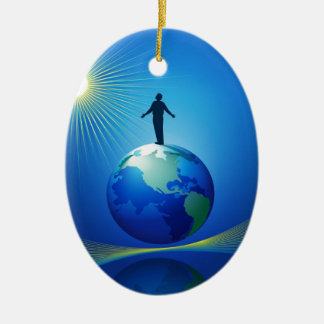 Man on Globe Christmas Ornament