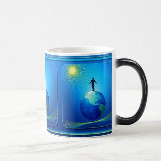 Man on Globe 11 Oz Magic Heat Color-Changing Coffee Mug