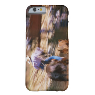 Man on horseback roping calf barely there iPhone 6 case