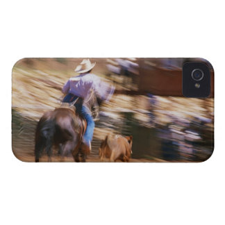Man on horseback roping calf iPhone 4 case