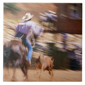 Man on horseback roping calf tile