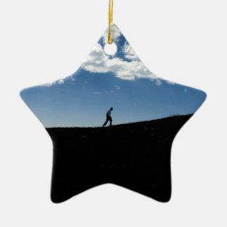 Man on Mountain Silhouette Christmas Ornament