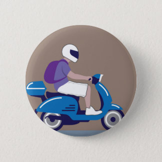 Man on Scooter 6 Cm Round Badge
