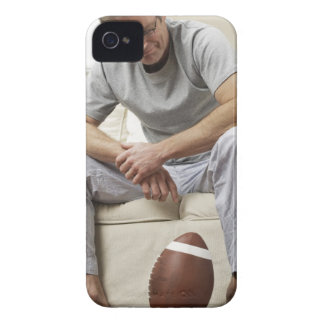 Man on Sofa with Football iPhone 4 Case-Mate Case