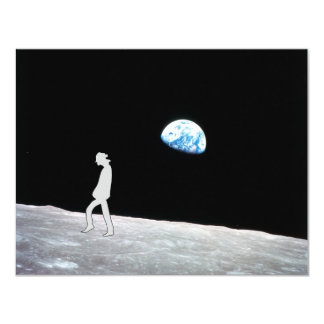 Man on the moon 11 cm x 14 cm invitation card