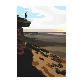 Man overlooking African Landscape. Canvas Print