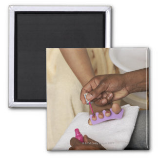 Man Painting Woman's Toes Square Magnet