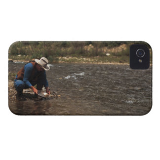 Man panning for gold on the South Platte River iPhone 4 Case-Mate Case