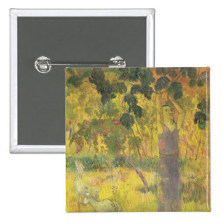 Man Picking Fruit from a Tree, 1897 15 Cm Square Badge