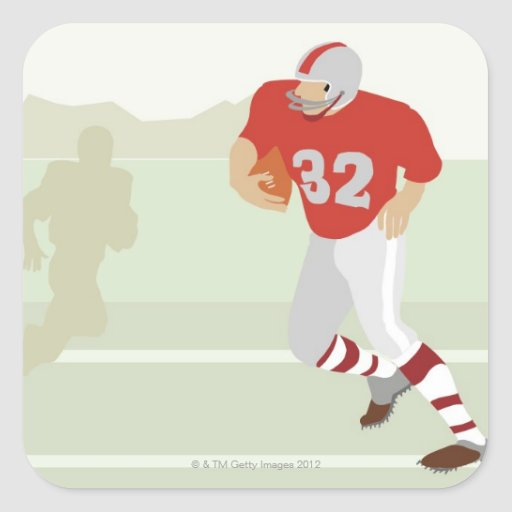 Man playing American football Square Stickers