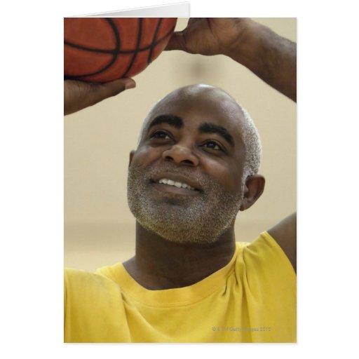 Man playing basketball 4 greeting cards