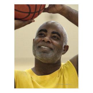 Man playing basketball 4 post card