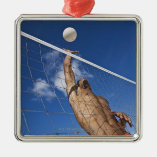 Man playing beach volleyball Silver-Colored square decoration