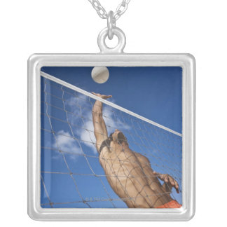 Man playing beach volleyball silver plated necklace