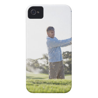 Man playing golf in sand trap iPhone 4 cases