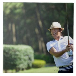 Man playing golf, Miyazaki Prefecture, Kyushu, Tile