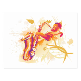 Man Playing Jazzy Saxophone Watercolor Style Postcard