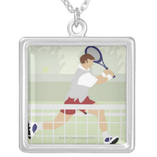Man playing tennis 2 silver plated necklace