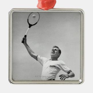 Man playing tennis christmas ornament